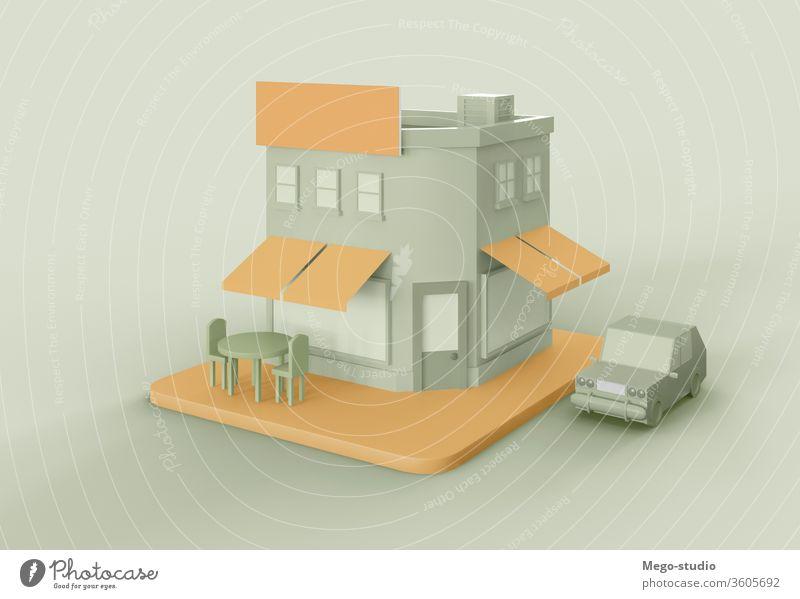 3D-Illustration. Werbefläche im Schaufenster. Attrappe. 3d Großstadt Werkstatt blanko Anzeige Logo Werbung Grafik u. Illustration rendern kaufen Gewerbe