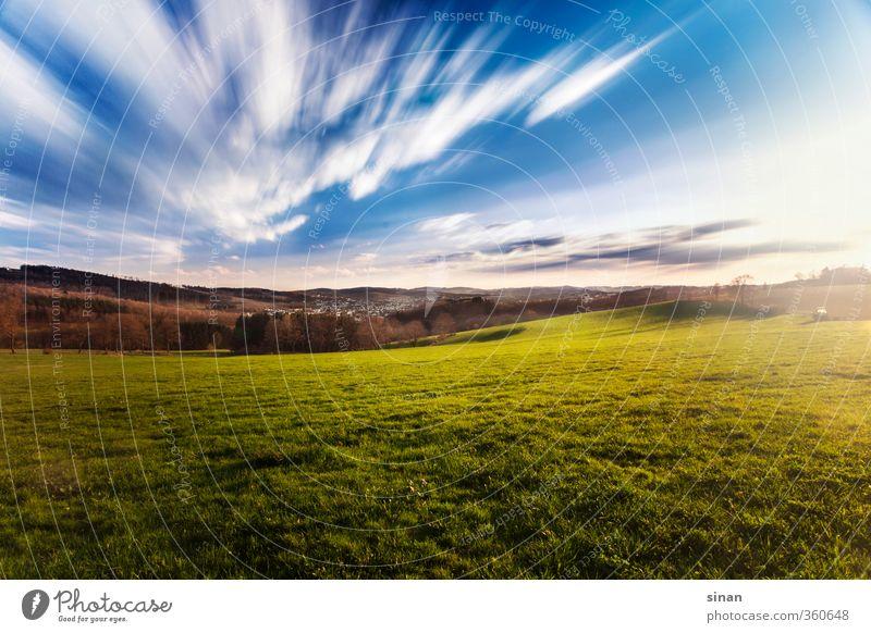 Sauerland Himmel Natur blau grün Sommer Pflanze Sonne Erholung Landschaft ruhig Wolken Ferne Wiese Gras Freiheit Horizont
