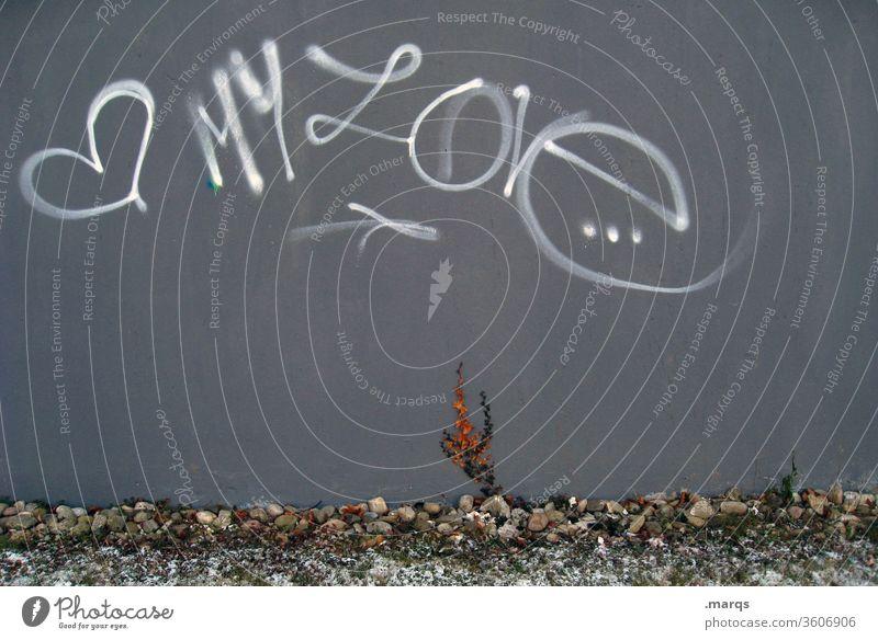 My Love Liebe Graffiti Verliebtheit Wand Gefühle Romantik Schriftzeichen Mauer Herz Liebeserklärung Valentinstag Partnerschaft Symbole & Metaphern grau weiß