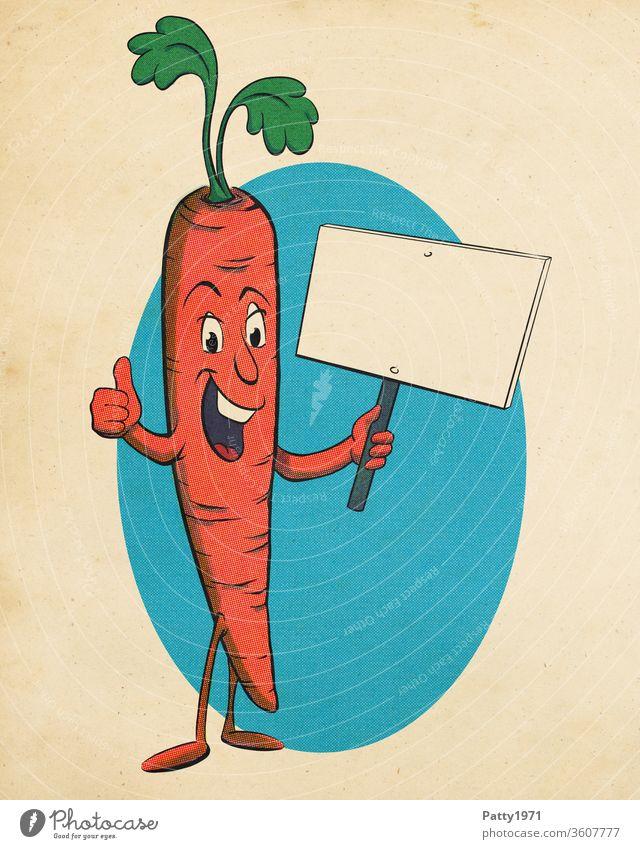 Lustige Cartoon Karotte im retro Rasterdruck/Halbtoneffekt hält Schild mit Textfreiraum und zeigt Daumen hoch Comic Effekt positiv vintage Papier Gemüse essen