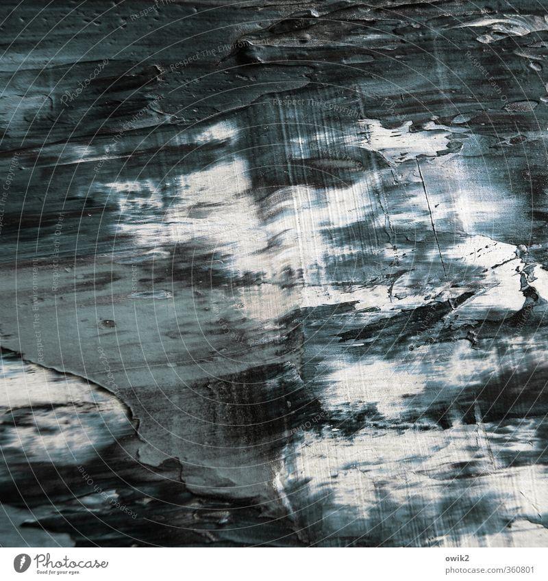 Wellenlänge blau weiß schwarz dunkel grau Kunst Wellen einfach trocken Spuren Gemälde nah Kunstwerk rau abstrakt breit