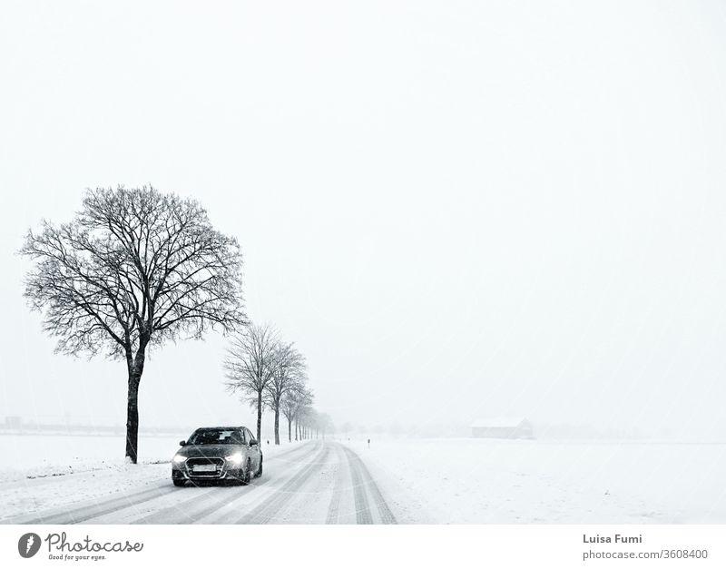 Winter in Bayern, minimalistische Szene, weiße Landschaft mit Schnee und Nebel, Landstraße flankiert von schwarzen Bäumen mit kargen Ästen und einem Auto im Anmarsch