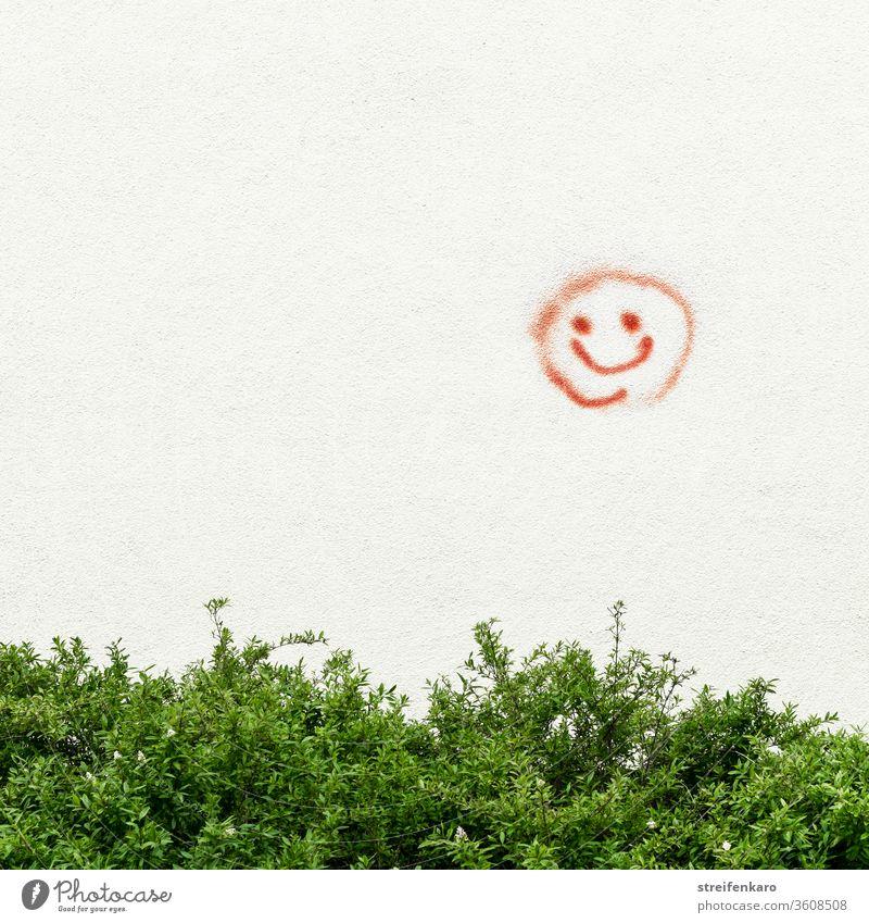 """""""Bitte recht freundlich"""" strahlte der rote Smiley an der Wand über dem grünen Strauch Graffiti Mauer Außenaufnahme Farbfoto Zeichen Fassade Tag Gebäude"""