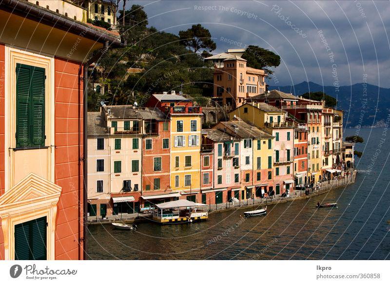 das Dorf Portofino im Norden Italiens, l Meer Berge u. Gebirge Haus Klettern Bergsteigen Seil Natur Himmel Wolken Baum Blatt Hügel Felsen Küste Stadt Hafen