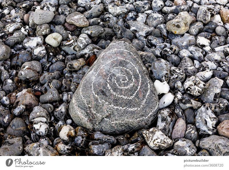 Steine am Strand Spirale Menschenleer Natur Nahaufnahme Tag grau weiß Farbfoto Kieselsteine zentral Küste Felsen Landschaft ruhig Außenaufnahme