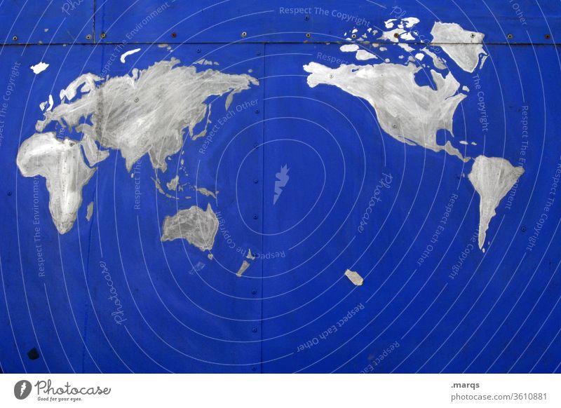 Weltweit Landkarte Weltkarte Erde blau abstrakt Idee Kreativität Katograph Konzept Klima Umweltschutz weltweit Planet Kontinente international Wand