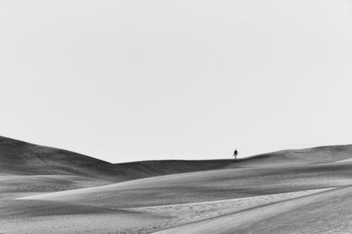 Der Wanderer im Sand Landschaft Natur Außenaufnahme Ferien & Urlaub & Reisen Menschenleer Tag wüst Einsamkeit Abenteuer reisen Himmel Sandhügel Sanddüne