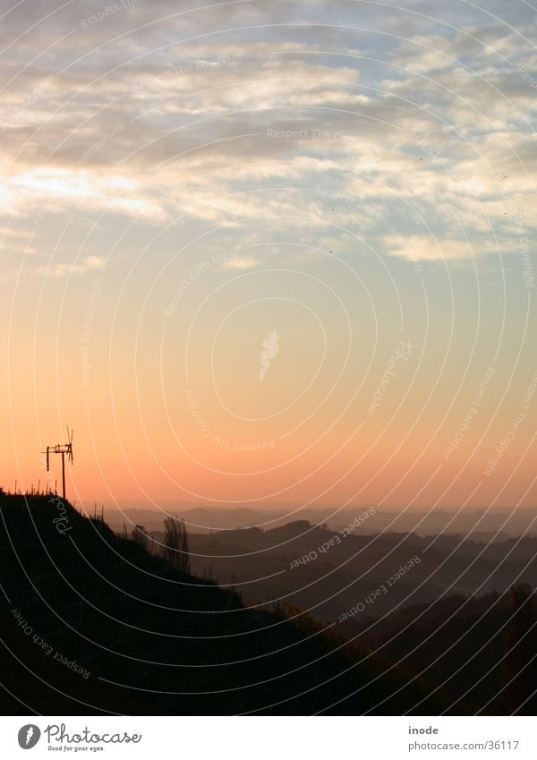 Südsteirische Weinstrasse, Österreich Morgen Sonnenaufgang Weinberg Bundesland Steiermark Hügel Sonnenuntergang Nebel Herbst Berge u. Gebirge Morgendämmerung