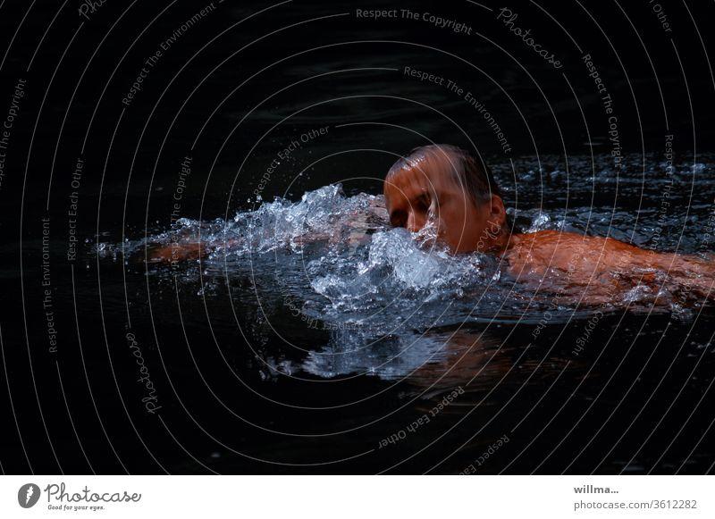 Wer schwimmt, lebt länger. Wer untergeht nicht. schwimmen kraulen Schwimmer Schwimmerin Wasser Schwimmsport Schwimmen & Baden Wassersport Schwimmbad Freibad