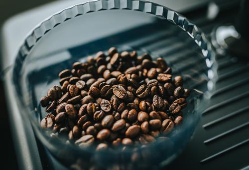 Frisch geröstete Kaffeebohnen im Trichter der Espressomaschine für zu Hause Schleifmaschine Ackerbau arabisch arabica Aroma aromatisch Hintergrund Bohne Bohnen