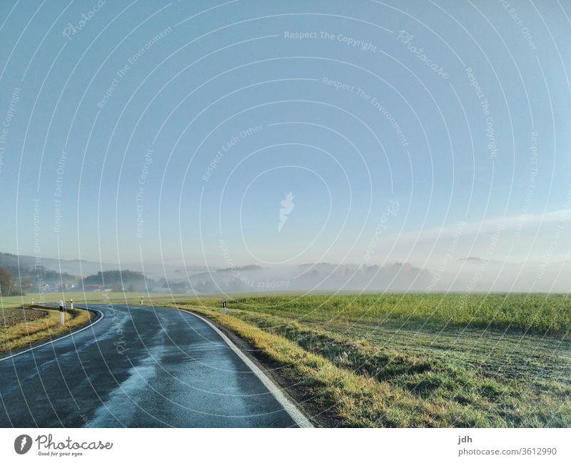 Kalter Frühlingsmorgen Landstraße Ländlich kalt sonnig Morgen sonnenaufgang Nebel Reif Frost Acker Raps Nachtfrost Weg Kurfe Tal Hügel Landschaft Außenaufnahme