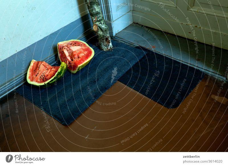 Melone im Treppenhaus abfall melone treppenabsatz bio mehrfamilienhaus menschenleer mietshaus stufe textfreiraum treppenhaus treppenstufe wand wohnen wohngebiet