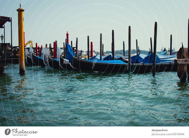 Feierabend auf dem Canal de Grande.Die Gondeln plätschern im blauen ruhigen Wasser. Sie sind an Holz Stangen befestigt. Außenaufnahme Farbfoto Natur