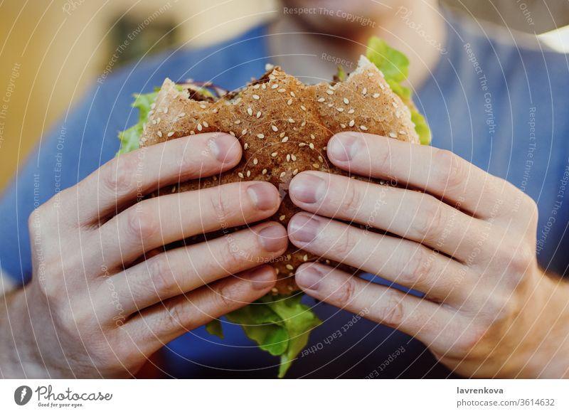 Nahaufnahme der Männerhände, die vegane Kichererbsen-Bohnen-Burger mit frischem Grün halten, selektiver Fokus Lebensmittel schnell Salat Sesam Suppengrün Person