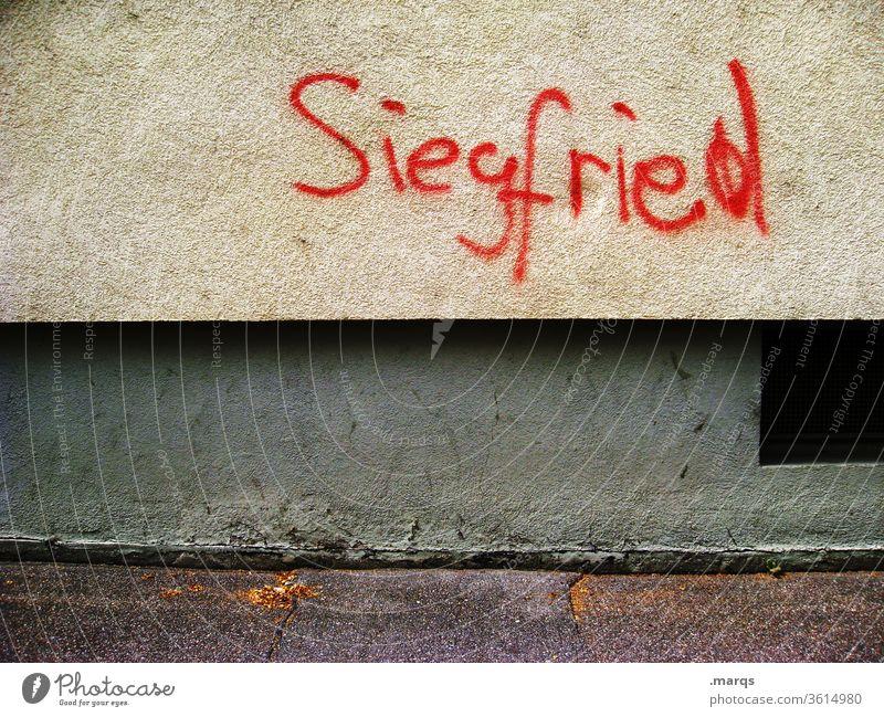 Siegfried was here Schriftzeichen Graffiti Wand Mauer Kommunizieren rot Buchstaben Typographie siegfried name skurril