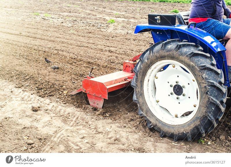 Traktor mit Fräsmaschine lockert, zerkleinert und vermischt den Boden. Ausrüstung für die Anbautechnik. Lockert die Oberfläche, kultiviert den Boden für die weitere Bepflanzung. Landwirtschaft und Ackerbau.