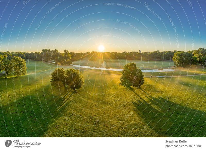 Wunderschöner Sonnenaufgang über dem Englischen Garten in München. Sonnenstrahlen scheinen durch die Bäume authentisch Natur minga neblig Wiese grün Sitzung