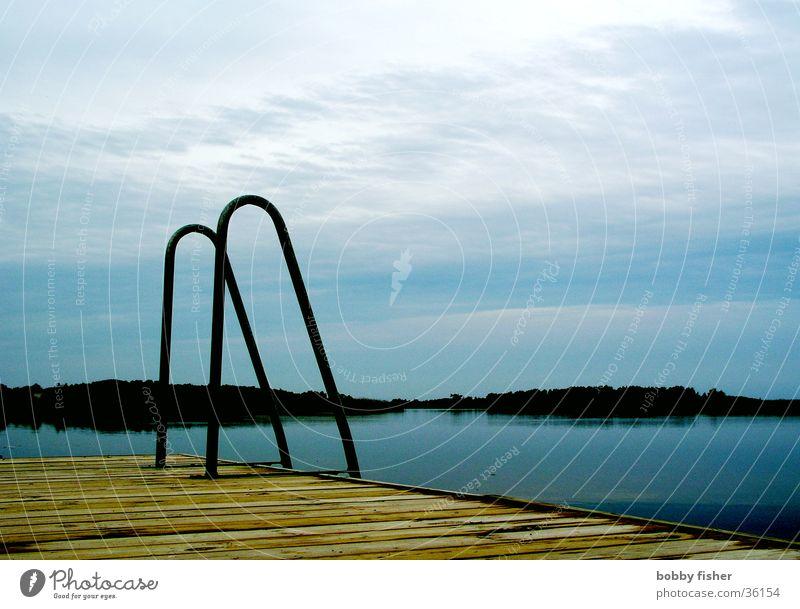 ausstieg Morgen See Ferien & Urlaub & Reisen Einstieg (Leiter ins Wasser) Skandinavien ruhig Schweden Küste