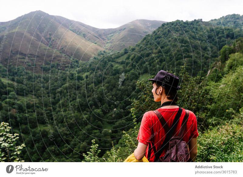 Ruhiger weiblicher Reisender genießt Naturlandschaft reisen Berge u. Gebirge Landschaft Frau Tourist bewundern Windstille Tal erstaunlich Asturien Spanien