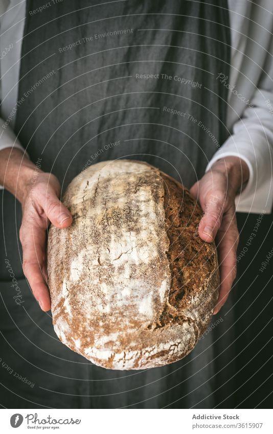Getreidekoch mit frischem Brot Bäcker Brotlaib lecker gebacken Koch Schürze geschmackvoll Mahlzeit Bäckerei Lebensmittel Küche Feinschmecker Gebäck Tradition