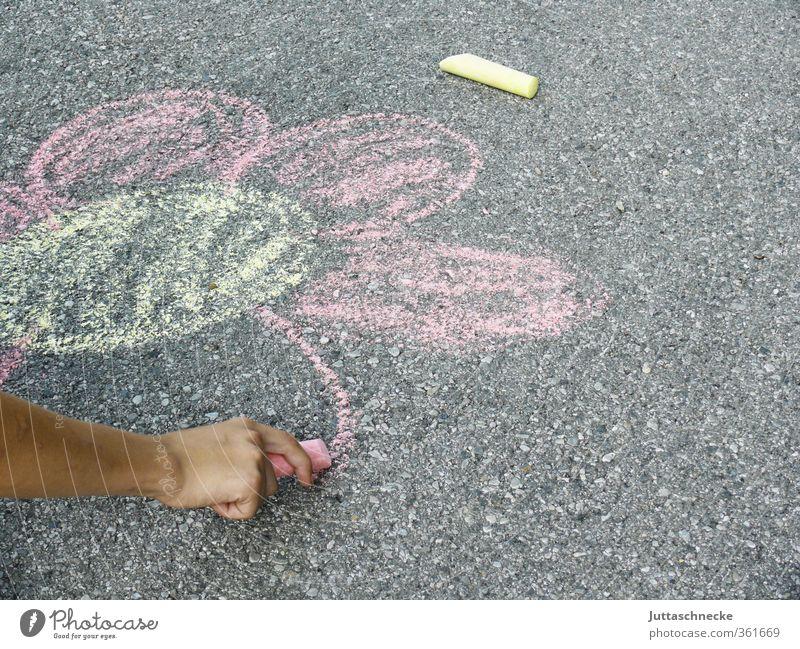 grafisch / ich mal mir einen Garten Mädchen Junge Arme Hand 3-8 Jahre Kind Kindheit 8-13 Jahre Kunst Künstler Maler Beton zeichnen Spielen Fröhlichkeit gelb