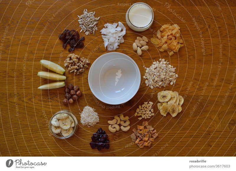 Obst, Getreide, Nüsse und andere Lebensmittel fürs gesunde Frühstück | lebensnotwendig Müsli Auswahl Abwechslung Buffet Nahrungsmittel Ernährung lecker