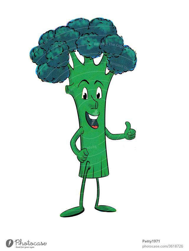 Lustige,lachende Cartoon Broccoli Figur, isoliert vor weißem Hintergrund die Daumen nach oben hält Gemüse grün Comic Freisteller Grafik u. Illustration