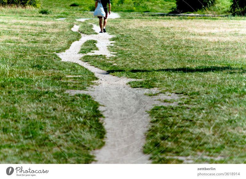 Trampelpfad weg wandern laufen unterwegs spaziergang berlin wanderung trampelpfad ferne flughafen flugplatz freiheit frühling horizont menschenleer rollbahn