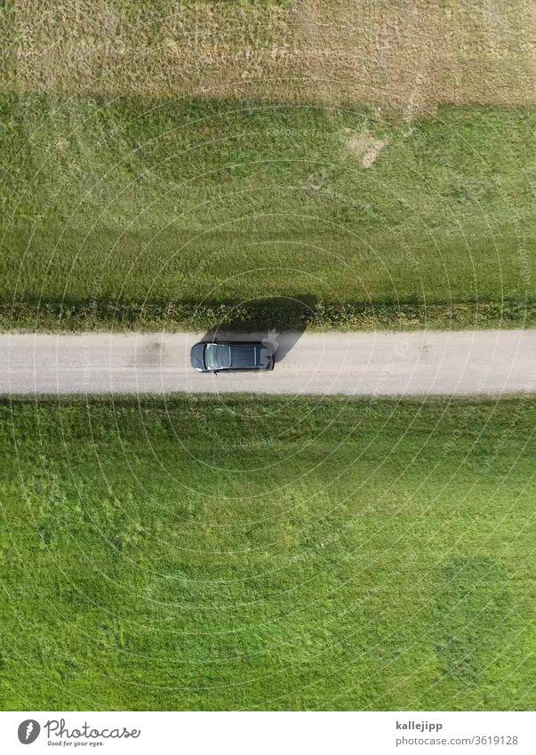 fahrt ins grüne feldweg Drohnenaufnahme Luftaufnahme Autofahren KFZ Wiese Wege & Pfade Vogelperspektive Feld Landwirtschaft Tag Natur Farbfoto Außenaufnahme