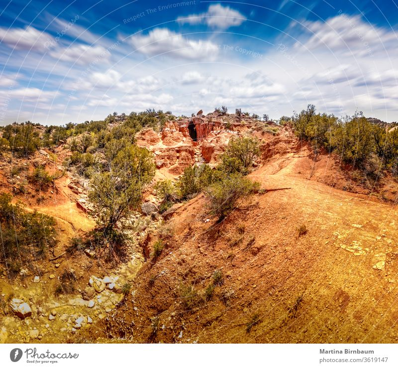 Panorama der Höhle im Staatspark Palo Duro Canyon, Texas palo duro-Schlucht panoramisch Natur Landschaft reisen Hügel im Freien State Park Abenteuer Baum Himmel