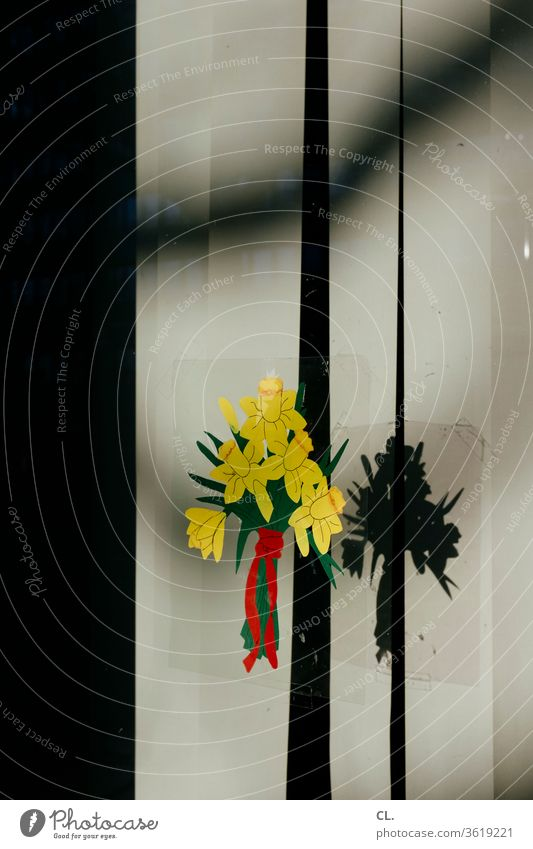 blumengruß Blume Blumenstrauß Aufkleber Fenster Fensterscheibe Blühend Dekoration & Verzierung Blüte Frühling Geburtstag gelb