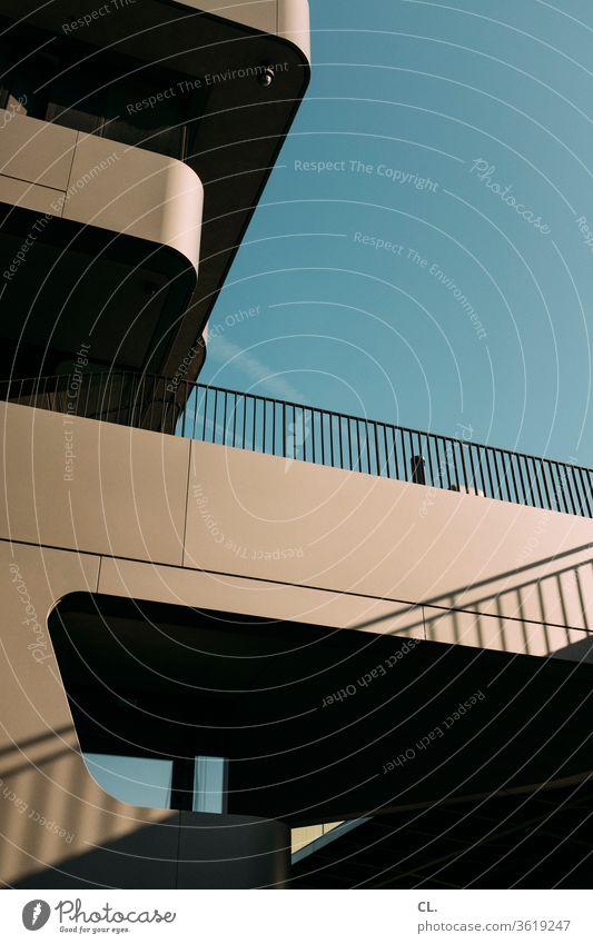 architektur modern Architektur Gebäude Fassade Moderne Architektur Bürogebäude Hochhaus Geländer komplex Stadt abgerundet Bauwerk Strukturen & Formen abstrakt