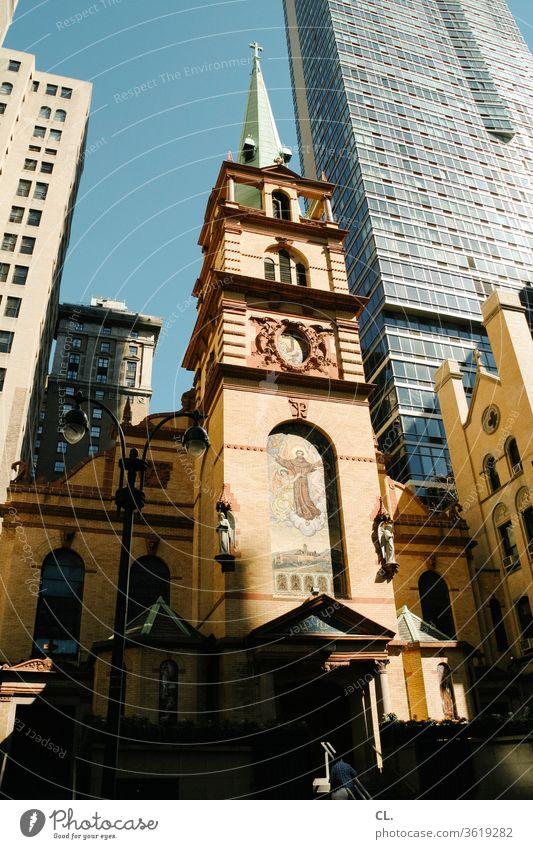 boston Architektur Kirche Hochhaus Stadt Wolkenkratzer Gebäude Himmel Großstadt urban Stadtzentrum Gegensatz alt neu historisch Turm Stadtbild modern