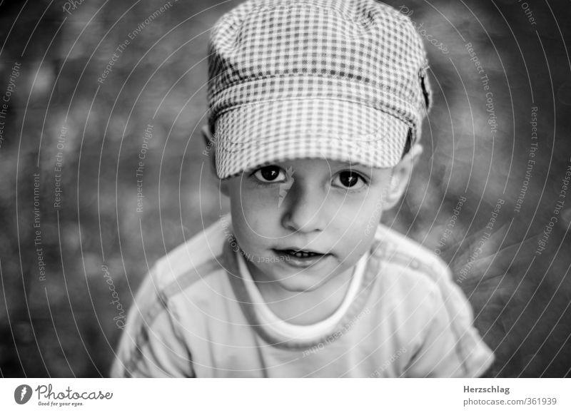 Yannik und Photocase Kind Kindheit Kopf 1-3 Jahre Kleinkind Mütze Kommunizieren Blick stehen Coolness frech Freundlichkeit natürlich positiv Gefühle