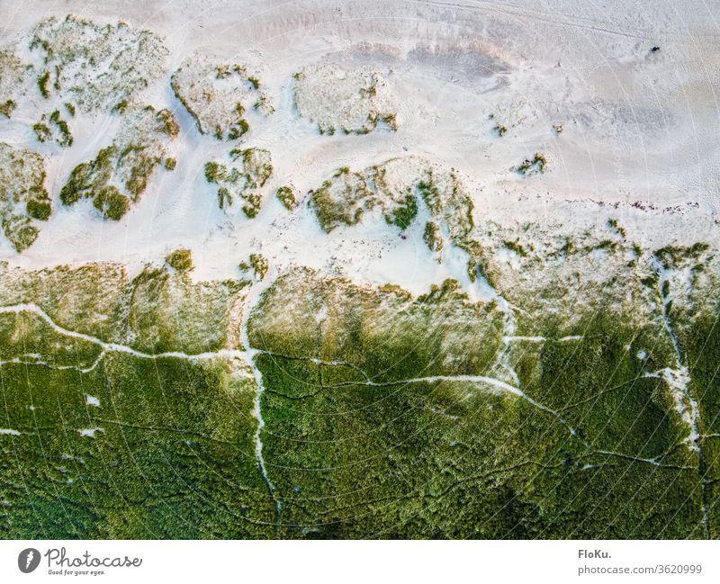 Dünenlandschaft aus der Vogelperspektive Nordsee Dänemark natur horizont ulraub tourismus küste küstenlandschaft dünen dünengras strand erholung reisen wolken