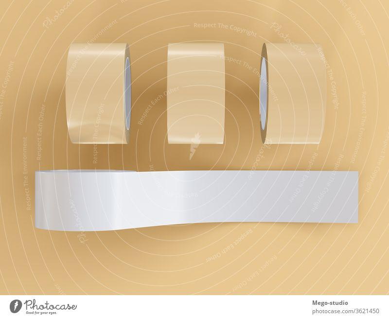 3D-Illustration. Klebeband-Attrappe. 3d Klebstoff rollen Rudel Reparatur bandagieren kreisen Sauberkeit nach oben Werkzeug klebend Lagerhalle Hintergrund Ikon