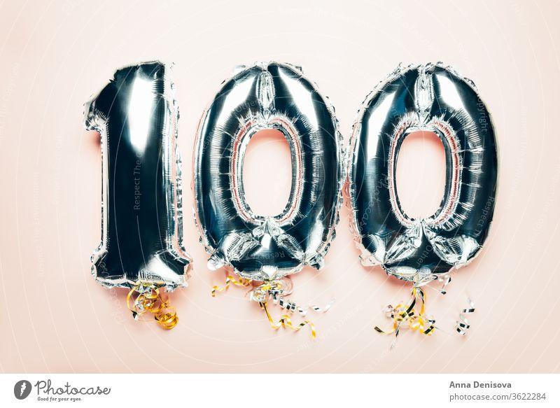 Ballonfahne zur Feier des 100-jährigen Jubiläums Luftballon Silber mag Glitter Gefolgsleute Nummer Neujahr Jahrestag eine hundert Geburtstag Termin & Datum