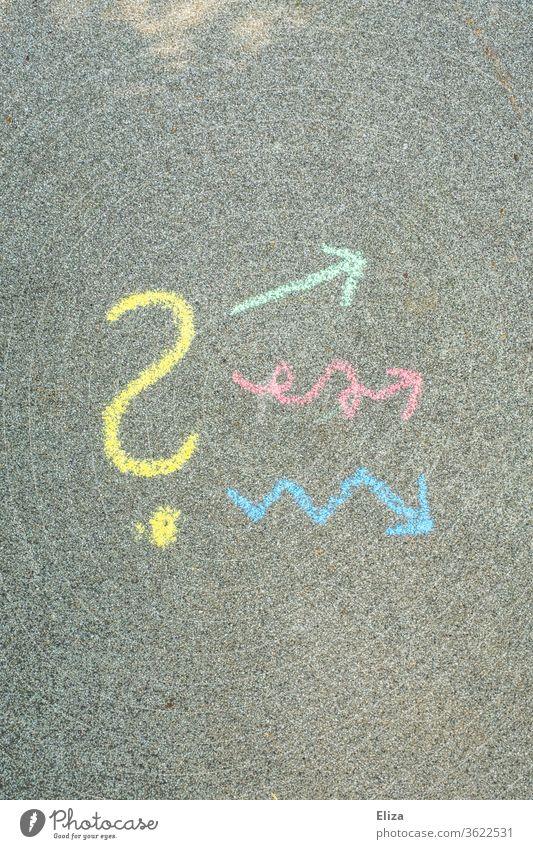 Ein Fragezeichen, von dem aus unterschiedliche Pfeile weg zeigen. Konzept Kreativität, Lösungswege und Problemlösung. Kreativprozess Inspiration verschieden