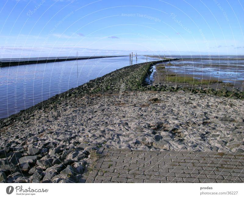 Ausfahrt Meer Fahrwasser Deich Küste Wasser Bensersiel