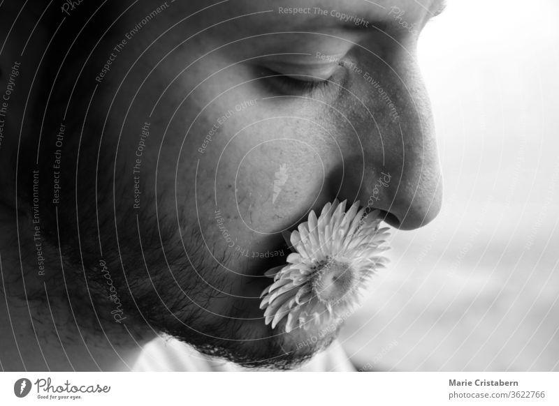 Porträt eines Mannes mit Blume im Mund, um das Konzept der Freundlichkeit, der Macht der Worte und der Verletzlichkeit zu zeigen Menschlichkeit
