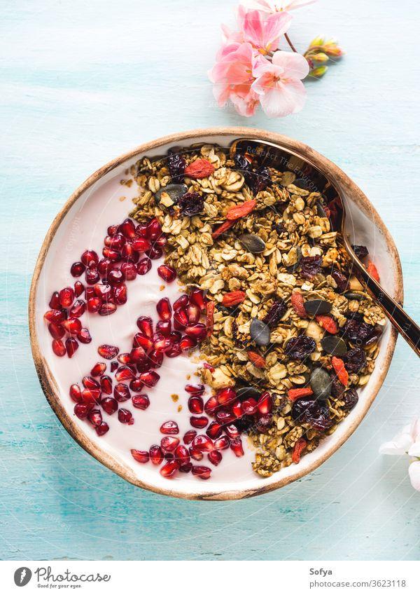 Gesunde Joghurtschale mit Müsli und Granatapfel Schalen & Schüsseln Gesundheit Beeren Frucht Entzug selbstgemacht essen Top Ansicht Herbst fallen Frühling Blume