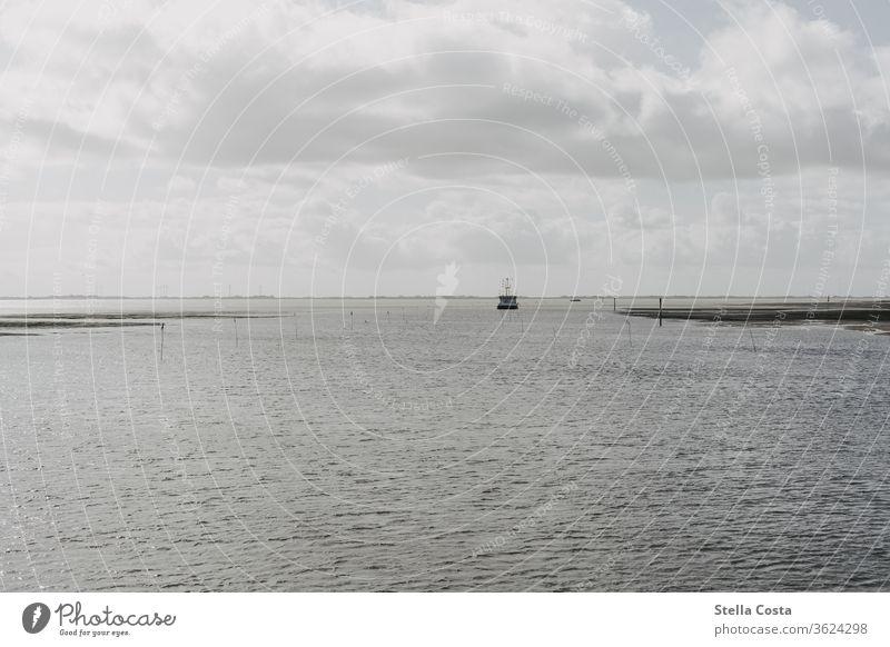 Schiff in weiter Entfernung das durchs Wattenmeer fährt. Schiffstour transport Umwelt Tag Strand Wolken dunkle Wolken dunkle Stimmung düster wolkenbehangen