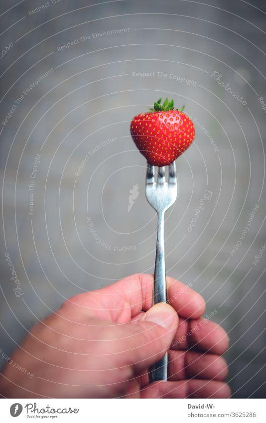 Eine frische Erdbeere aufgespießt mit einer Gabel Erdbeerzeit Frucht Leckerbissen schön Beerenfrucht obstsorten Obsttorte ertrag ertragreich gesammelt Sammler