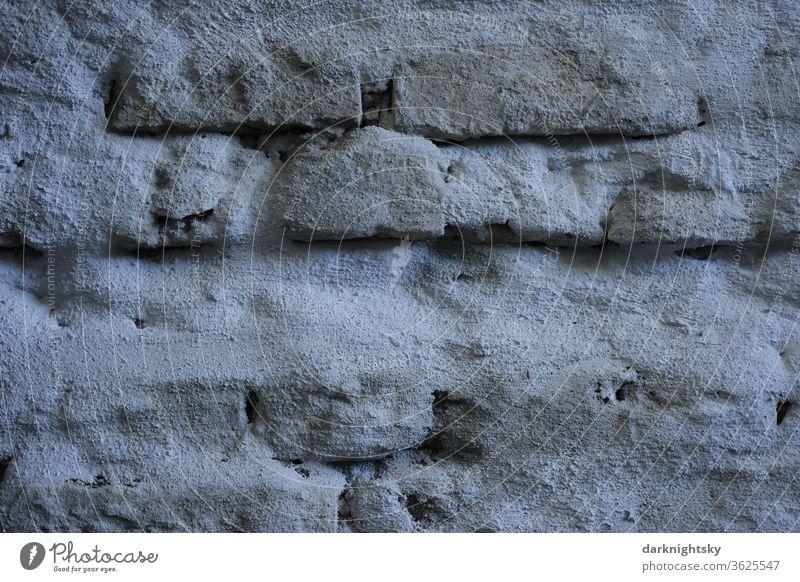 Mauerwerk Sanierung mit Spritzbeton und Mörtel und Design Reparatur Architektur Sanierungsgebiet Bauen planen Haus Ziegel Normalformat Zement grau Konstruktion