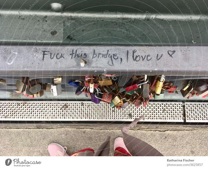 Eiserner Steg, Brücke, Frankfurt am Main Stadt Fußgängerbrücke Wahrzeichen Schriftzug Graffiti Vogelperspektive Liebesschloss Vorhängeschloss Vorhängeschlösser