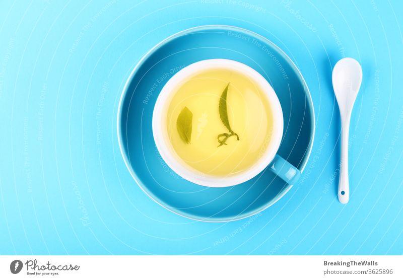 Blaue Tasse mit grünem Oolong-Tee auf blauem Hintergrund gelb Kräuterbuch Löffel weiß Untertasse Papier Pastell Nahaufnahme erhöht Top Ansicht hoch Winkel