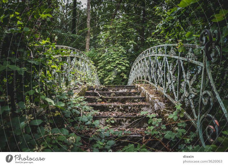 secret garden Brücke Park Garten verwildert zugewuchert lost places Vergänglichkeit Endzeitstimmung Verfall Zahn der Zeit alt Vergangenheit Wandel & Veränderung