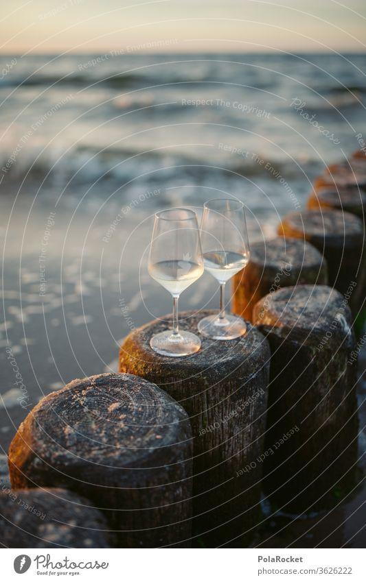 #A# Ostsee-Romantik II Abend Ostseeküste Ausflugsziel Weinglas romantisch Farbfoto Wasser Landschaft Mecklenburg-Vorpommern Himmel Sand Tourismus Natur