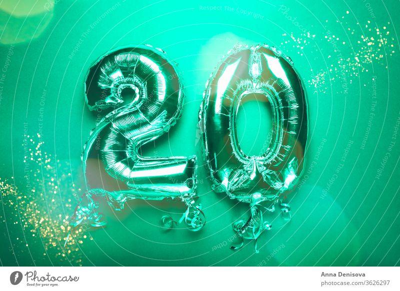 Silberner Zahlenballon 20 Luftballon zwei zwanzig Nummer Neujahr Jahrestag Geburtstag Gefolgsleute mag Termin & Datum Januar Dekoration & Verzierung Glitter