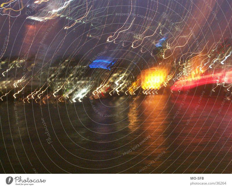 London@night Stadt Nacht mehrfarbig anschaulich Haus rot gelb Themse Europa Farbe Fluss Licht blau Unschärfe